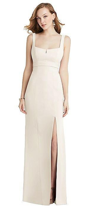 Wide Strap Notch Empire Waist Dress with Front Slit