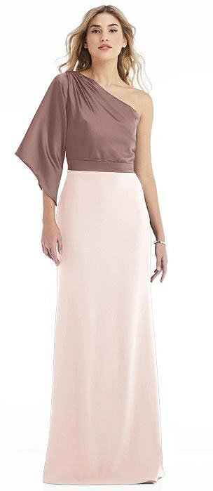 One-Shoulder Bell Sleeve Trumpet Gown