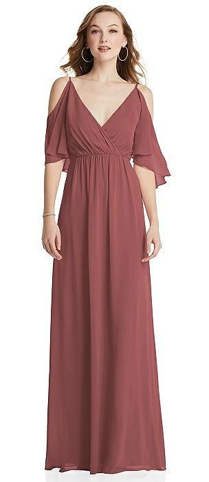 Convertible Cold-Shoulder Draped Wrap Maxi Dress