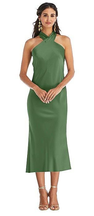 Draped Twist Halter Tie-Back Midi Dress - Paloma