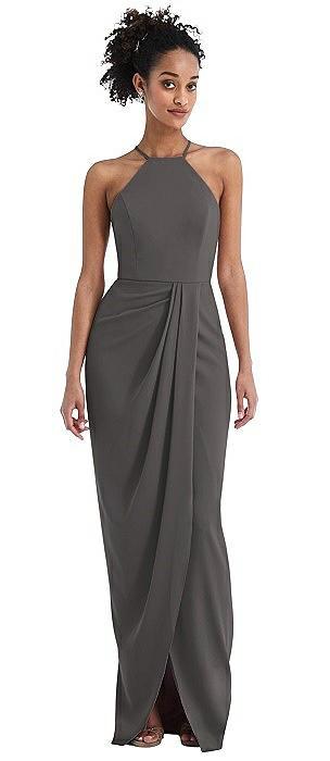 Halter Draped Tulip Skirt Maxi Dress