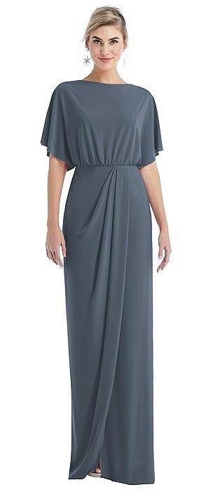 Open-Back Three-Quarter Sleeve Draped Tulip Skirt Maxi Dress