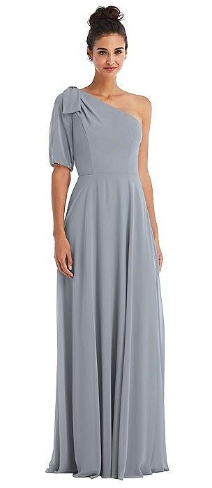 Bow One-Shoulder Flounce Sleeve Maxi Dress