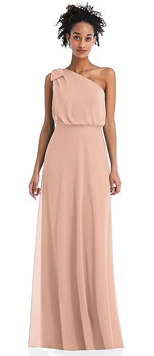 One-Shoulder Bow Blouson Bodice Maxi Dress